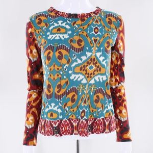 Tory Burch Graphic Long Sleeve Blouse XS